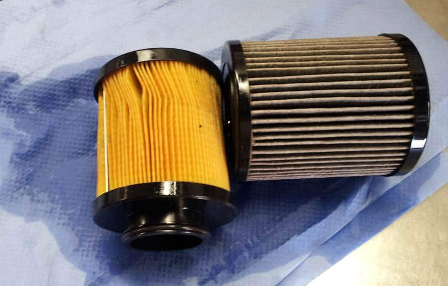 replacing dirty oil filters
