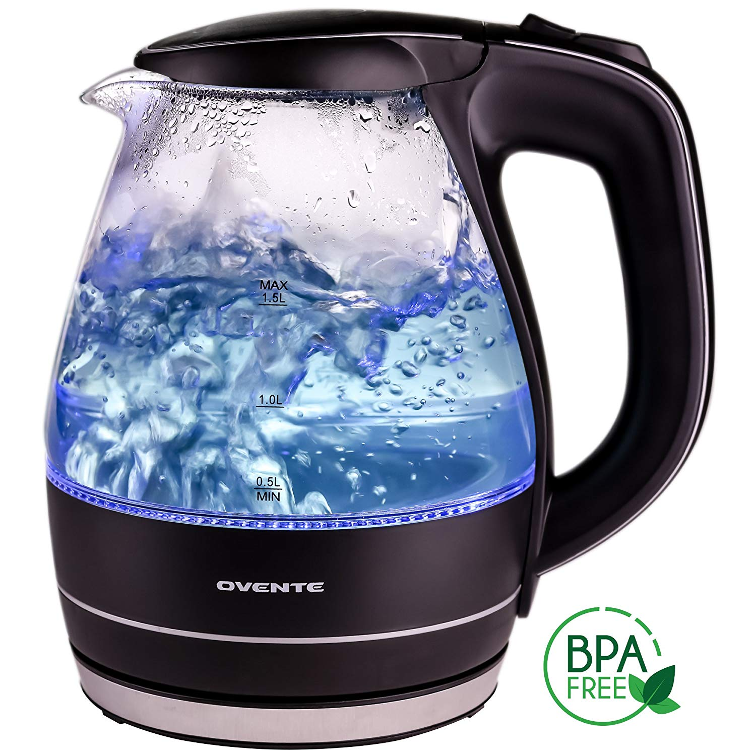 Ovente 1.5L BPA-Free Glass Electric Kettle,