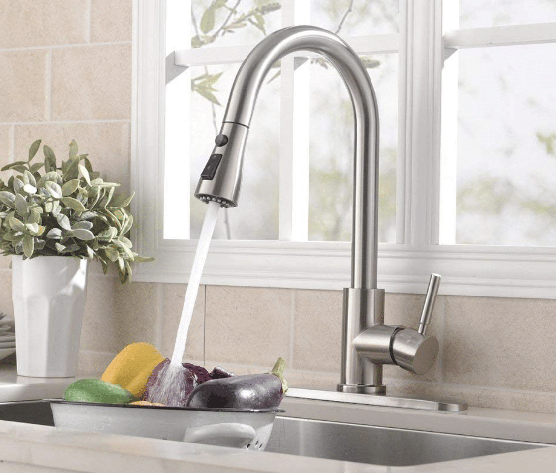 Single Handle High Arc Pull out Brushed Nickel Kitchen Faucet